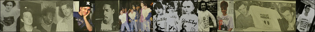 Collage of pictures from Identity back in the '80's featuring 808 State and Rapper Derek B